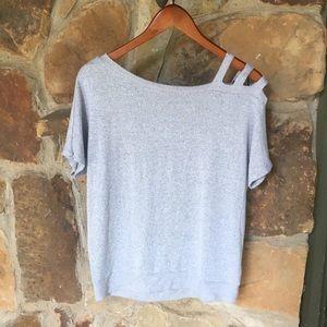 Grey single cold-shoulder shirt